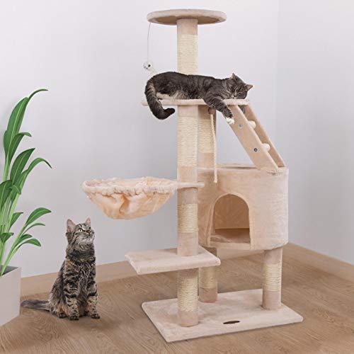 Happypet® Kratzbaum für Katzen mittelgroß 120 cmm hoch, Kletterbaum Katzenbaum, stabile Säulen mit Natur-Sisal ca. 8cm Durchmesser, Liegemulde, Haus, Treppe, Aussichtsplattform, Beige - 2