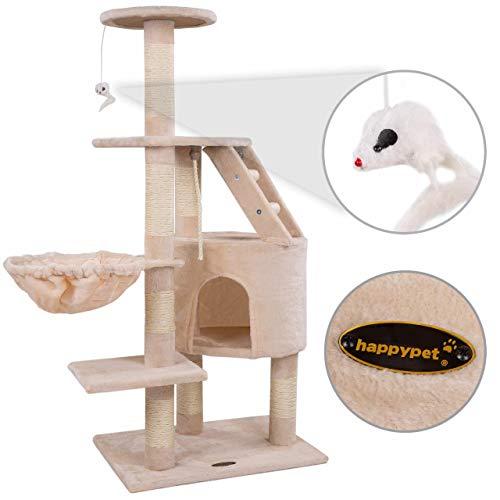 Happypet® Kratzbaum für Katzen mittelgroß 120 cmm hoch, Kletterbaum Katzenbaum, stabile Säulen mit Natur-Sisal ca. 8cm Durchmesser, Liegemulde, Haus, Treppe, Aussichtsplattform, Beige - 3