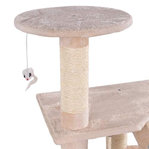 Happypet® Kratzbaum für Katzen mittelgroß 120 cmm hoch, Kletterbaum Katzenbaum, stabile Säulen mit Natur-Sisal ca. 8cm Durchmesser, Liegemulde, Haus, Treppe, Aussichtsplattform, Beige - 4