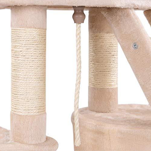 Happypet® Kratzbaum für Katzen mittelgroß 120 cmm hoch, Kletterbaum Katzenbaum, stabile Säulen mit Natur-Sisal ca. 8cm Durchmesser, Liegemulde, Haus, Treppe, Aussichtsplattform, Beige - 7