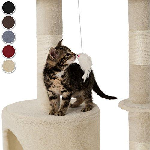 TecTake Kratzbaum für Katzen | Mittelhoch mit Sisalstangen | - Diverse Farben - (Beige | Nr. 401434) - 2