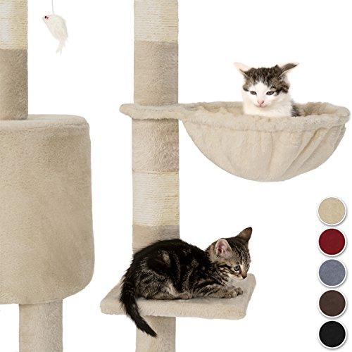 TecTake Kratzbaum für Katzen | Mittelhoch mit Sisalstangen | - Diverse Farben - (Beige | Nr. 401434) - 3