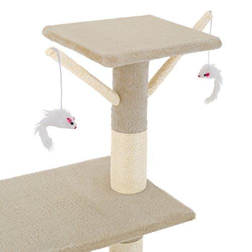 TecTake Kratzbaum für Katzen | Mittelhoch mit Sisalstangen | - Diverse Farben - (Beige | Nr. 401434) - 4