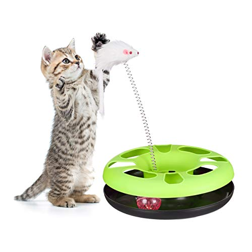 Relaxdays Katzenspielzeug mit Maus, Kugelbahn, Ball