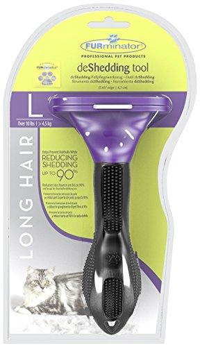 FURminator deShedding Fellbürste für Katzen – Katzenpflegebürste in Größe L für langhaarige Katzen zur effektiven Entfernung von Unterwolle und Vorbeugung von Haarballen - 2