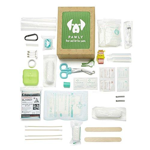 Pawly Erste-Hilfe-Set für Haustiere - Enthält über 40 Premium-Artikel - Zeckenentferner, Spritze, Bandagen, Tücher und Lanzetten - 2