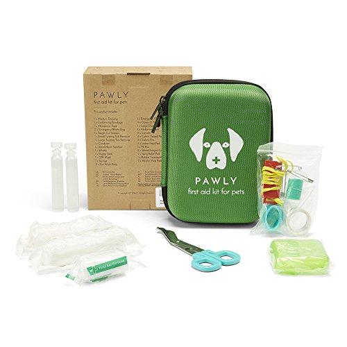Pawly Erste-Hilfe-Set für Haustiere - Enthält über 40 Premium-Artikel - Zeckenentferner, Spritze, Bandagen, Tücher und Lanzetten - 3