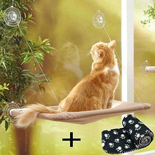 JZK Katzen Fensterplatz Window Lounger Katzen Hängematte + Katzendecke, Sonnenbad Katzenbett Haustierbett für Haustier Katze klein Hund Kaninchen oder andere Kleintiere - 8