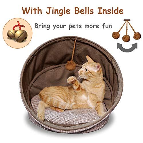 Fitgorush Katzenbett Haustierbett und Sofa Katzenhöhle inkl. Kissen waschbar Kuschelhöhle für Katzen Warm faltbar Tierbett bequem mit Haarkugel Haustiere unter 8KG - 4