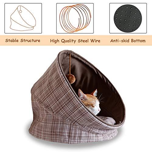 Fitgorush Katzenbett Haustierbett und Sofa Katzenhöhle inkl. Kissen waschbar Kuschelhöhle für Katzen Warm faltbar Tierbett bequem mit Haarkugel Haustiere unter 8KG - 5