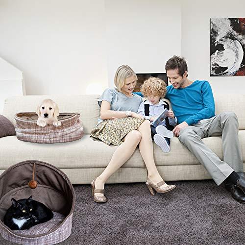 Fitgorush Katzenbett Haustierbett und Sofa Katzenhöhle inkl. Kissen waschbar Kuschelhöhle für Katzen Warm faltbar Tierbett bequem mit Haarkugel Haustiere unter 8KG - 6