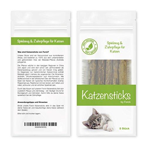 Forck Katzenminze Katzenspielzeug 5 Sticks, unsere Matatabi-Kausticks unterstützen die natürliche Zahnpflege und helfen bei Zahnstein & Mundgeruch - 3