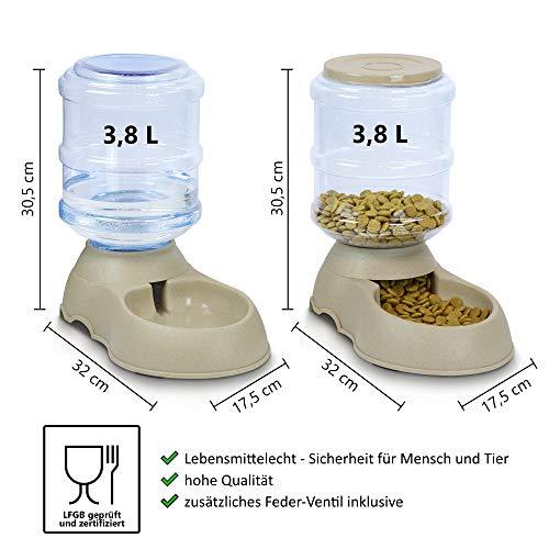 RayZoolia Automatischer Futter und Wasserspender für Katzen und Hunde, lebensmittelecht, besonders groß (3,8 Liter) inkl. Ersatz-Ventil - 2