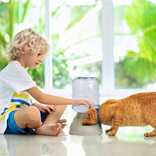 RayZoolia Automatischer Futter und Wasserspender für Katzen und Hunde, lebensmittelecht, besonders groß (3,8 Liter) inkl. Ersatz-Ventil - 3
