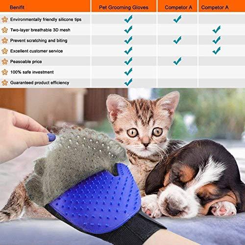 GOLDSTA Fellpflegehandschuh für Hund, Katze & Hase - Enthaaren, Baden & Massieren   Fellbürste für Sensible Haut   Hundebürste & Katzenbürste für Mittel- & Kurzhaar   Fellkamm Striegel - Katzenbürste - 6