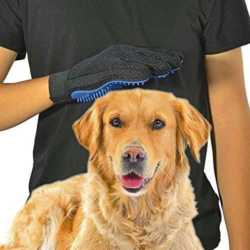 GOLDSTA Fellpflegehandschuh für Hund, Katze & Hase - Enthaaren, Baden & Massieren   Fellbürste für Sensible Haut   Hundebürste & Katzenbürste für Mittel- & Kurzhaar   Fellkamm Striegel - Katzenbürste - 7
