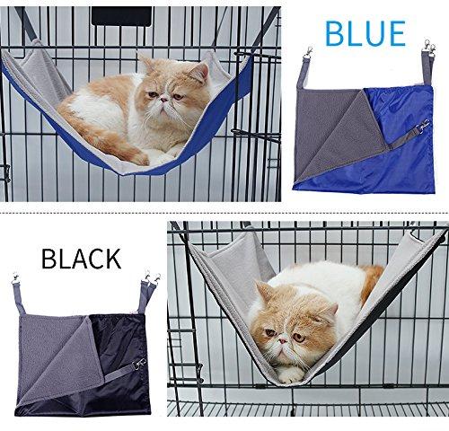 Petneces Hängematte für Katzen, wasserdicht, Oxford-Gewebe, Bett für den Käfig, Schlafplatz für Kleintiere–  2-in-1:für Sommer & Winter–einfach am Käfig zu befestigen - 2