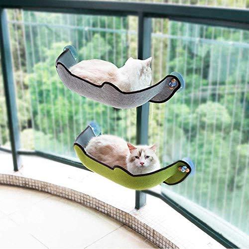 KOBWA katzenhängematte Katzen Fensterplatz Window Lounger, Cat Fenster Bett mit mit 1 Matte and 3 Saugnäpfen Pet Glass Fensterbrett Katzenhängematte Katzebett Fenster bis zu 10 kg für Katzen - 2