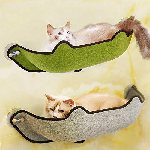 KOBWA katzenhängematte Katzen Fensterplatz Window Lounger, Cat Fenster Bett mit mit 1 Matte and 3 Saugnäpfen Pet Glass Fensterbrett Katzenhängematte Katzebett Fenster bis zu 10 kg für Katzen - 6