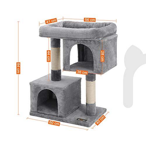 FEANDREA Kratzbaum mit Großer Plattform und 2 Plüschhöhlen Spielhaus, Kletterbaum für Katzen Hellgrau PCT61W - 3
