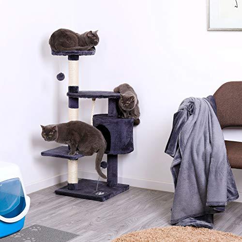 dibea KB00203 Kratzbaum für Katzen, 112 cm Höhe, grau - 2