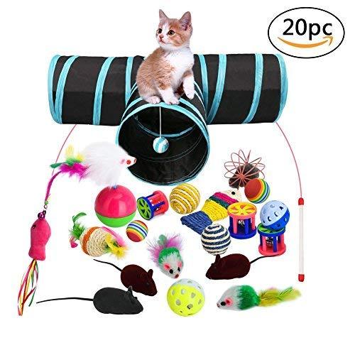 Katzenspielzeug Set mit Katzentunnel, 20 Stück