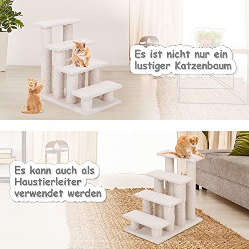 COSTWAY Tiertreppe Katzentreppe, Kletterbaum Katzenkratzbaum, Haustiertreppe Klein, Spielbaum 4 Aussichtplattformen, Treppe für Katze - 3