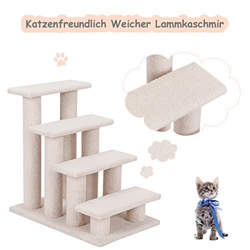 COSTWAY Tiertreppe Katzentreppe, Kletterbaum Katzenkratzbaum, Haustiertreppe Klein, Spielbaum 4 Aussichtplattformen, Treppe für Katze - 4