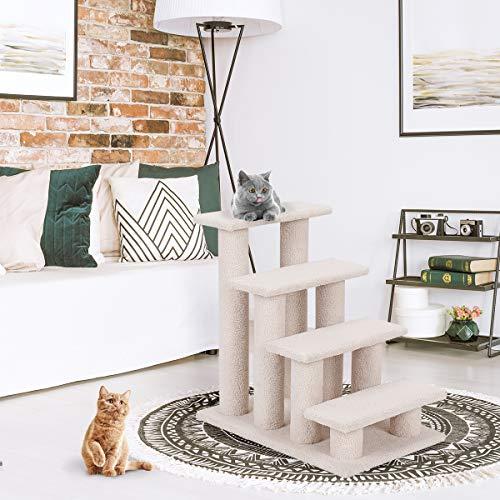 COSTWAY Tiertreppe Katzentreppe, Kletterbaum Katzenkratzbaum, Haustiertreppe Klein, Spielbaum 4 Aussichtplattformen, Treppe für Katze - 5