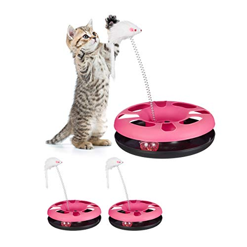 Relaxdays 3 x Katzenspielzeug mit Maus, Kugelbahn, Ball