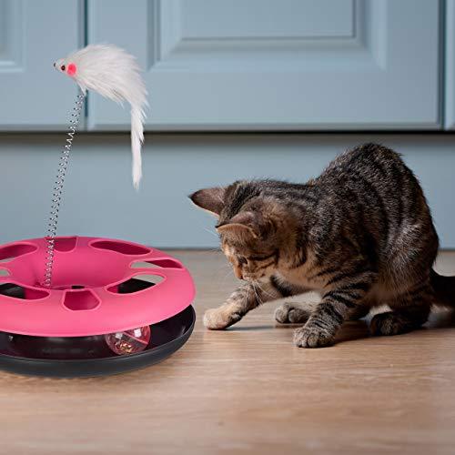 Relaxdays 3 x Katzenspielzeug mit Maus, Kugelbahn, Ball mit Glöckchen, Cat Toy, interaktiv, Training & Beschäftigung Katzen, pink - 2