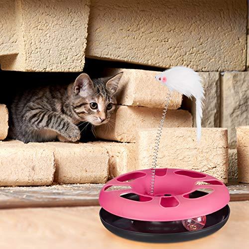 Relaxdays 3 x Katzenspielzeug mit Maus, Kugelbahn, Ball mit Glöckchen, Cat Toy, interaktiv, Training & Beschäftigung Katzen, pink - 3