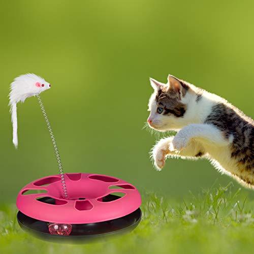 Relaxdays 3 x Katzenspielzeug mit Maus, Kugelbahn, Ball mit Glöckchen, Cat Toy, interaktiv, Training & Beschäftigung Katzen, pink - 5
