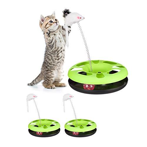 Relaxdays 3 x Katzenspielzeug Training & Beschäftigung
