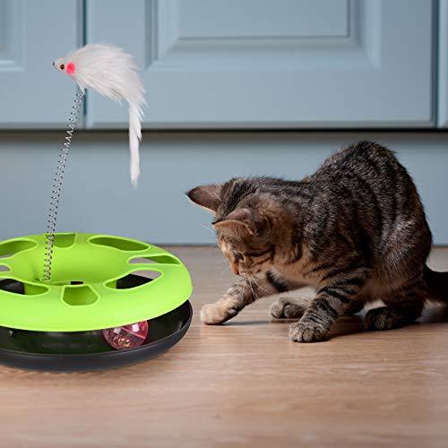 Relaxdays 3 x Katzenspielzeug mit Maus, Kugelbahn, Ball mit Glöckchen, Cat Toy, interaktiv, Training & Beschäftigung Katzen, grün - 2
