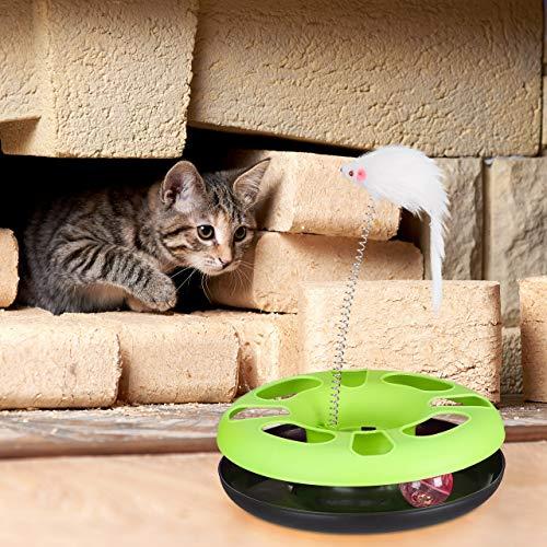 Relaxdays 3 x Katzenspielzeug mit Maus, Kugelbahn, Ball mit Glöckchen, Cat Toy, interaktiv, Training & Beschäftigung Katzen, grün - 3