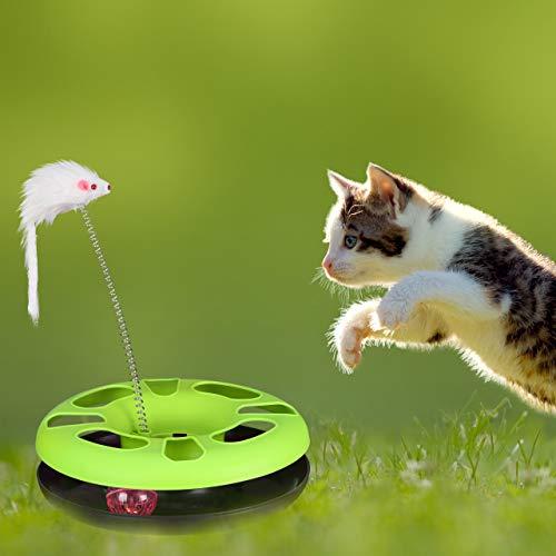 Relaxdays 3 x Katzenspielzeug mit Maus, Kugelbahn, Ball mit Glöckchen, Cat Toy, interaktiv, Training & Beschäftigung Katzen, grün - 5