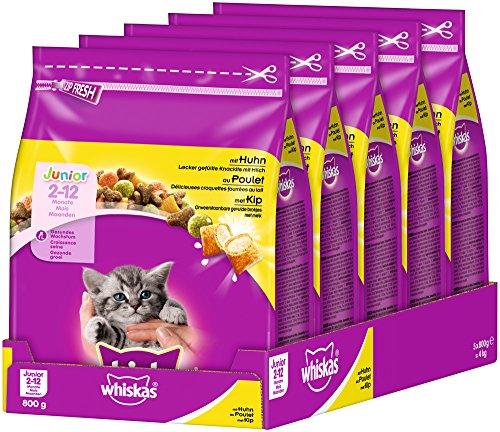 Whiskas Katzen-/Trockenfutter Junior mit Huhn (5 x 800 g)