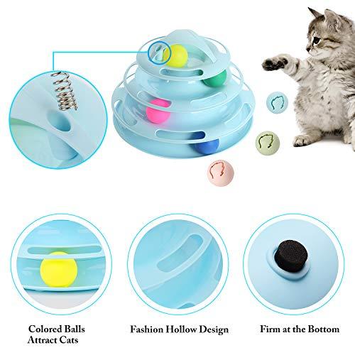 Legendog Katzenspielzeug, Vier Schichten Tierspielzeug Kätzchen Spielzeug Intelligenz Crazy Interactive Katzenspielzeug Tray-Spiel für Katzen (blau + 7 Bälle) - 8