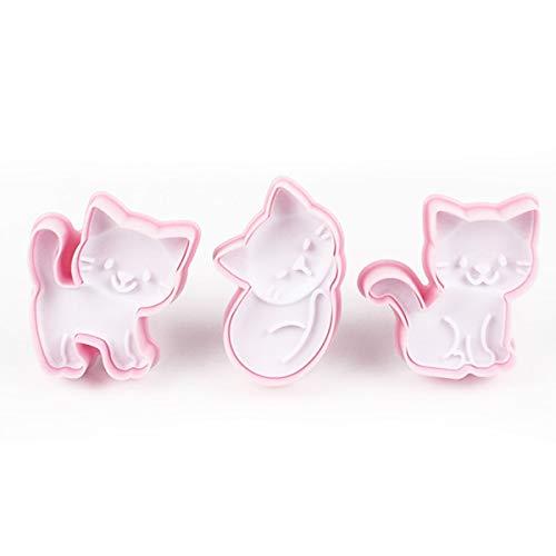 Keksform mit süßer Katze, Kunststoff, 3 Stück