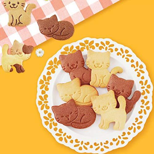 OBR KING Keksform mit süßer Katze, Kunststoff, mit Feder-Hand, für Kekse, Fondant, Dekoration, 3 Stück - 2