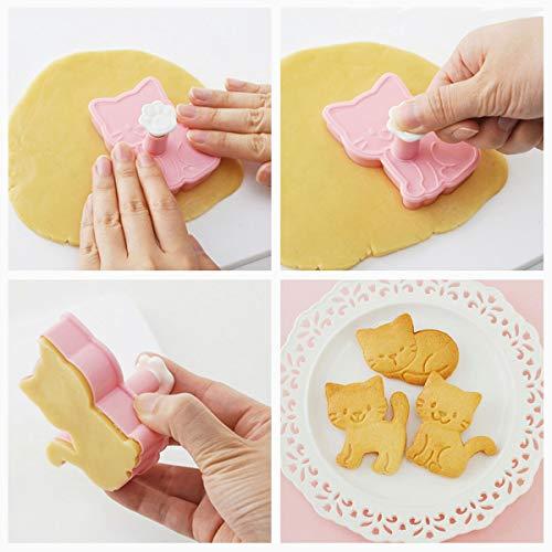 OBR KING Keksform mit süßer Katze, Kunststoff, mit Feder-Hand, für Kekse, Fondant, Dekoration, 3 Stück - 3