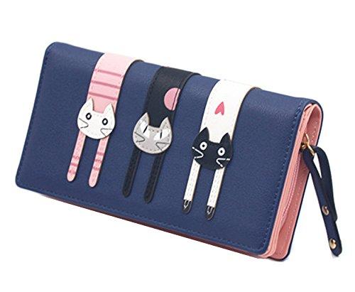 Geldbeutel Katze mit vielen Innentaschen (Blau)