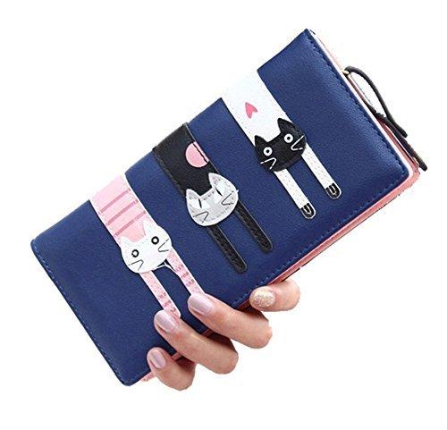 DNFC Geldbörse Damen Portemonnaie Lang Portmonee mit Vielen Kartenfächern Reißverschluss und Druckknopf Geldbeutel Katze Geldtasche Groß für Frauen Neu Design (Blau) - 6