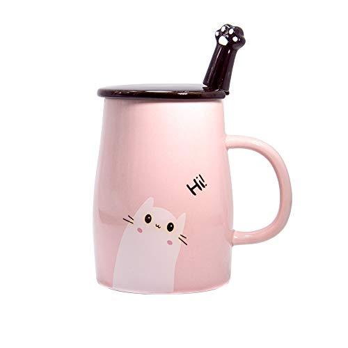 Niedliche Katzen-Tasse mit Kitty Edelstahllöffel