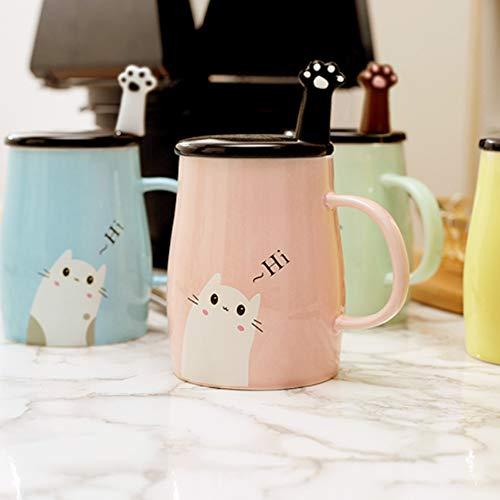 Binoster Niedliche Katzen-Tasse Keramische Kaffeetasse mit Kitty Edelstahllöffel, Hi ~ Neuheit-Kaffeetasse Geschenk für Katzenliebhaber Rosa - 2