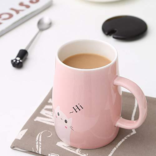 Binoster Niedliche Katzen-Tasse Keramische Kaffeetasse mit Kitty Edelstahllöffel, Hi ~ Neuheit-Kaffeetasse Geschenk für Katzenliebhaber Rosa - 3