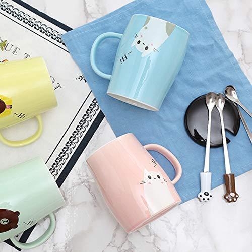 Binoster Niedliche Katzen-Tasse Keramische Kaffeetasse mit Kitty Edelstahllöffel, Hi ~ Neuheit-Kaffeetasse Geschenk für Katzenliebhaber Rosa - 4