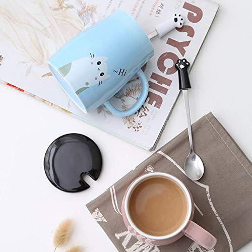 Binoster Niedliche Katzen-Tasse Keramische Kaffeetasse mit Kitty Edelstahllöffel, Hi ~ Neuheit-Kaffeetasse Geschenk für Katzenliebhaber Rosa - 6