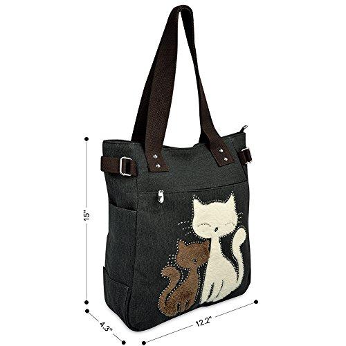 VBIGER Frauen Schultertasche Segeltuch Tasche Niedliche Katzen Tasche Damen Schopper Ideal Geschenk für Damen - 3